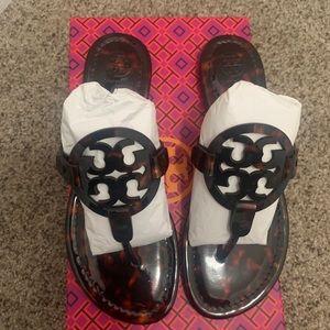 Tory Burch Tortoise Shell Miller Sandal NIB Size 7